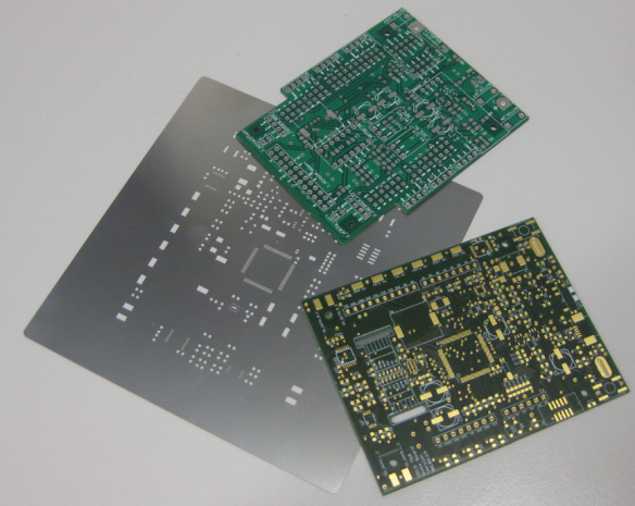 Old (top) and new (bottom) PCB with solder mask