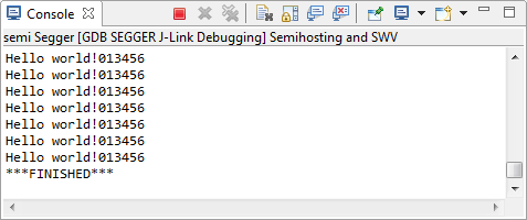 Semihosting Console View with output