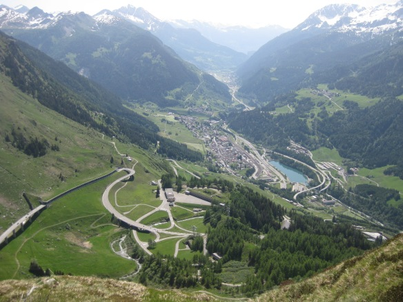 View down from Gotthard Pass to Airolo