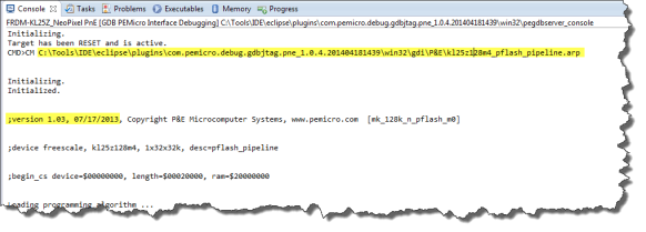 Console Log showing which Flash Programming applet is used