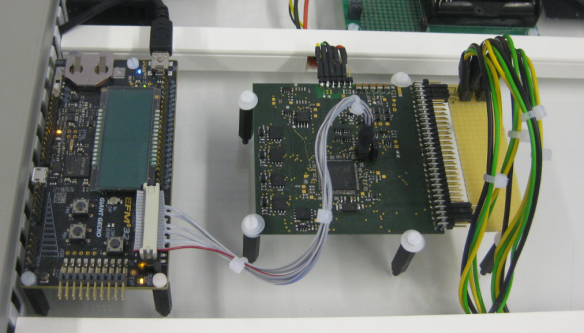 Debug Board (left) with Satellite Payload Board (right)