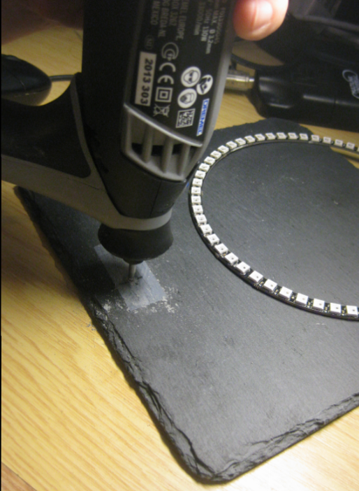 Drilling a hole with the Dremel
