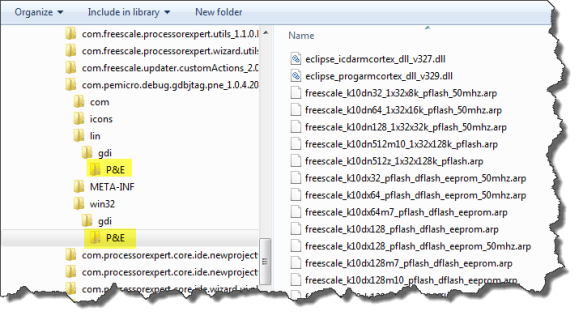 P&E Folder with Flash Programming Files