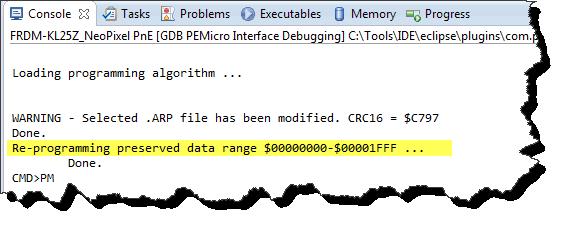 Re-programming preserved data range message