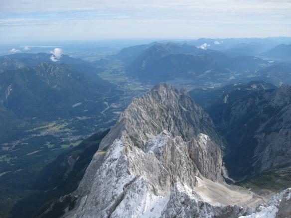 View from the Zugspitze down to Garmisch
