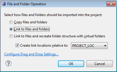 Link to files and Folders Dialog