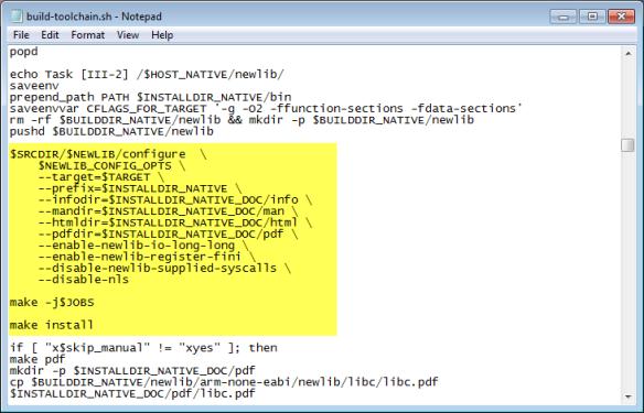 newlib configuration options