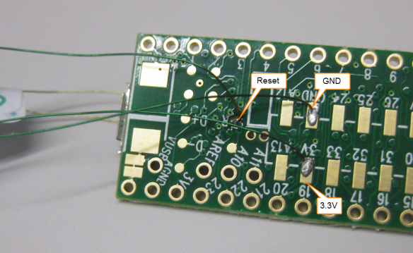 Soldered Wires on Back of Teensy 3.1