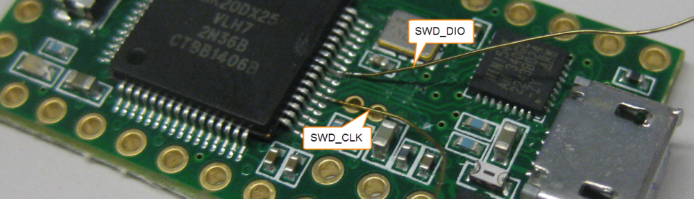 SWD_CLK and SWD_DIO Wires Soldered to the K20 Pins