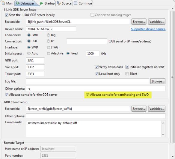 Allocated Semihosting Console for Segger