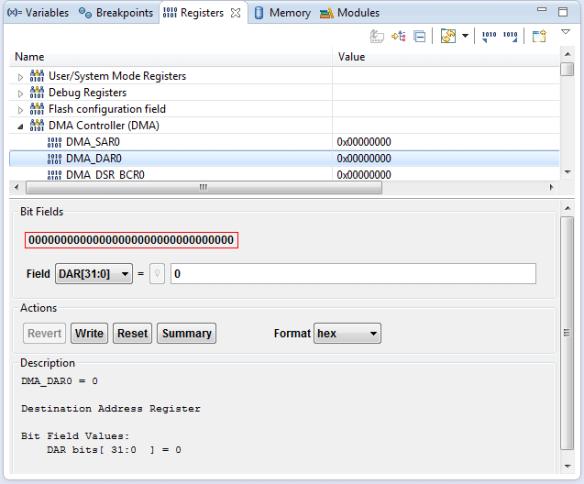 CodeWarrior Register Details