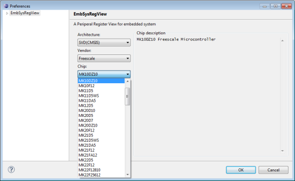 EmbSys Register View Device Selection