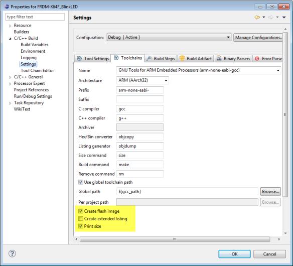 GNU ARM Eclipse Extra Post Build Steps