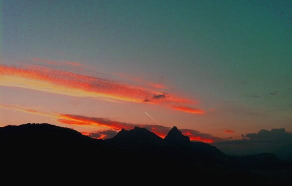 Mythen Sunrise with Plane