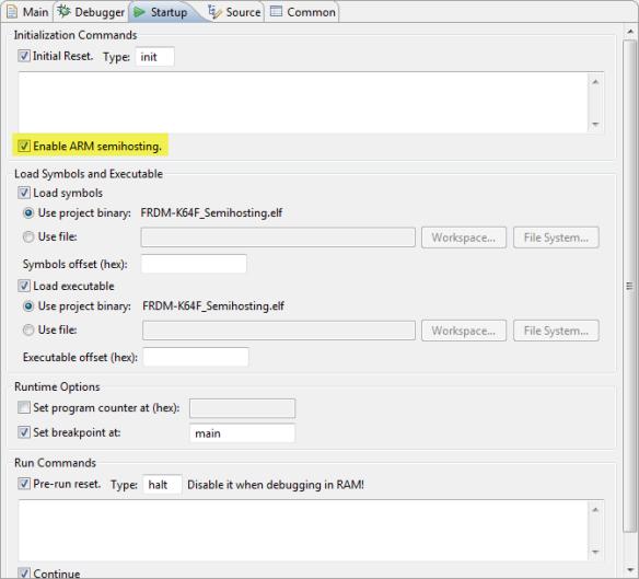 OpenOCD Semihosting Settings