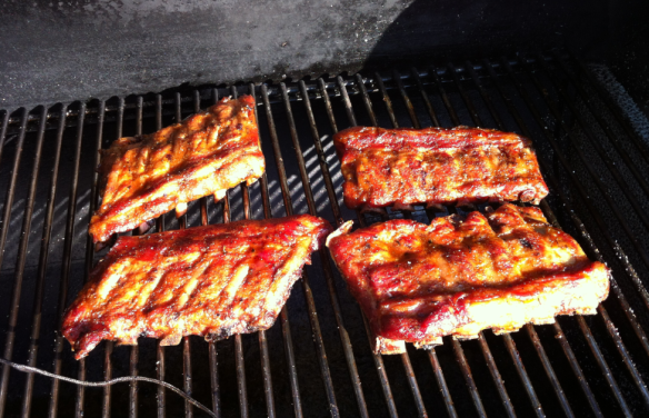 Pork Ribs in Smoker