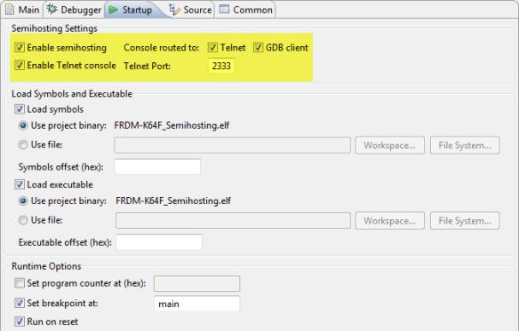 Semihosting Settings for PnE