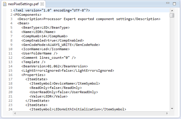 Content of exported PEF file