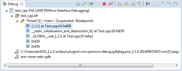 Debug View of Startup Code Calling C++ Constructors
