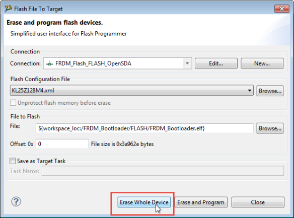 Erasing Device with Flash File to Target