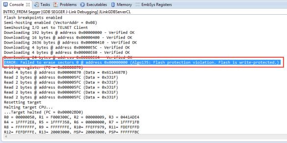 ERROR Algo135 Flash Protection Violation about failed FLASH Programming