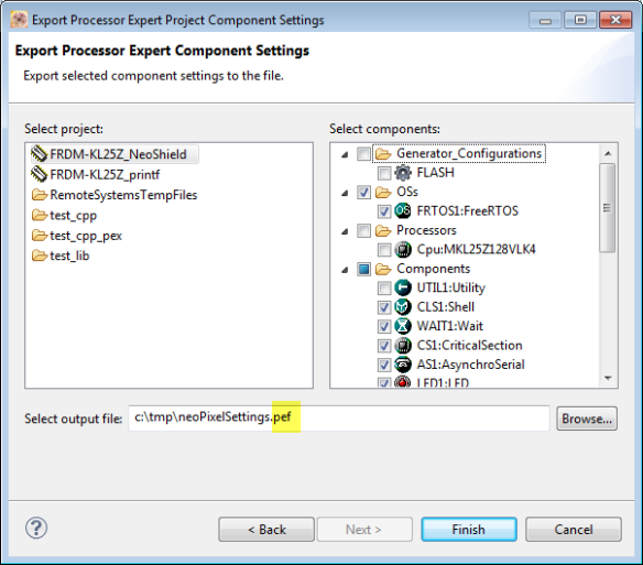 Exporting Processor Expert Component Settings
