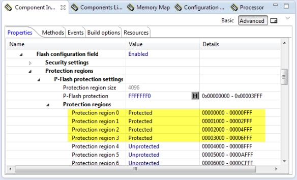 Protected FLASH Pages with Processor Expert