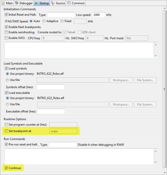 Segger J-Link configuration for running