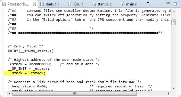 __stack and _estack in Linker File