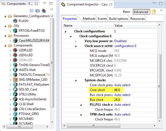 Bus and CPU Clock Settings