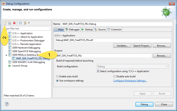 Creating new debug configuration