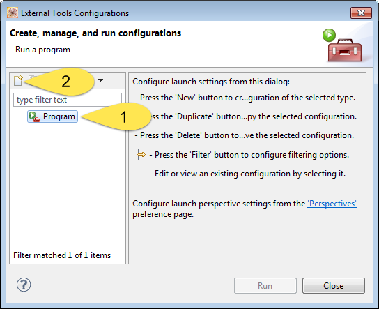 Creating New External Tool Configuration