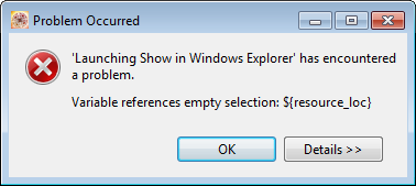 Error for not selected a resource