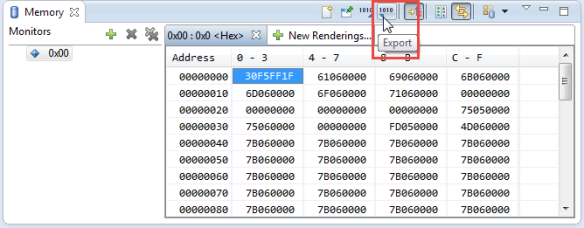 Exporting Memory from Memory View