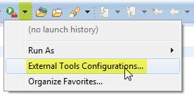 External Tools Configuration Menu
