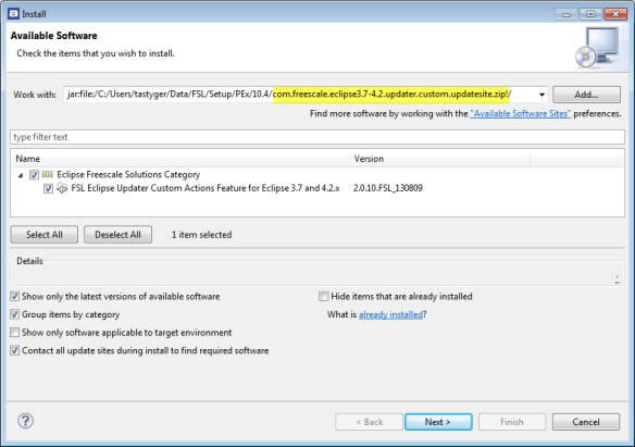 Installing Eclipse Updater in Atollic