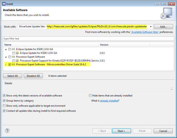 Installing Processor Expert Updates from Online Update Site