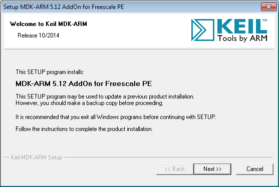 MDK-ARM 5.12 AddOn for Freescale PE