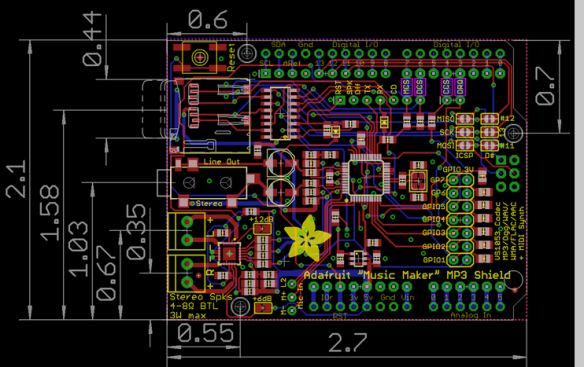 MusicMakerShield Layout (Source Adafruit)