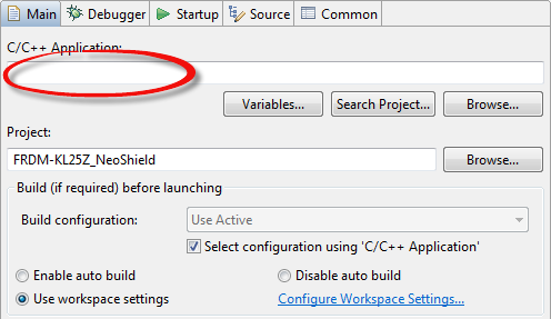 No Program File in Launch Configuration