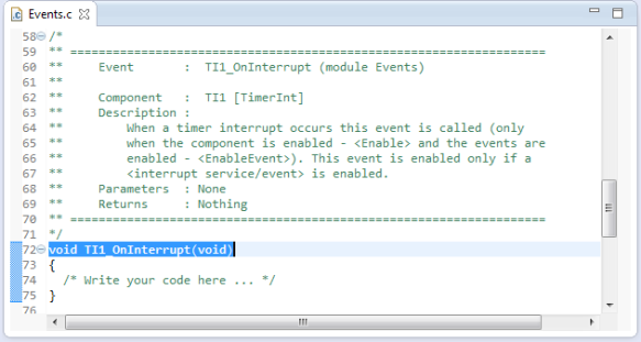 OnInterrupt in Events.c