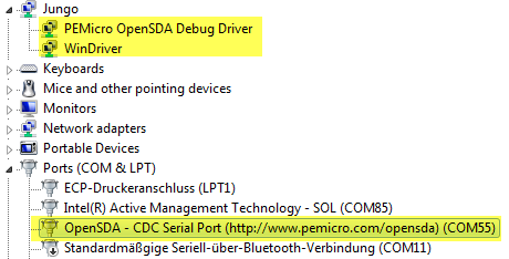 P&E OpenSDA Drivers in Device Manager