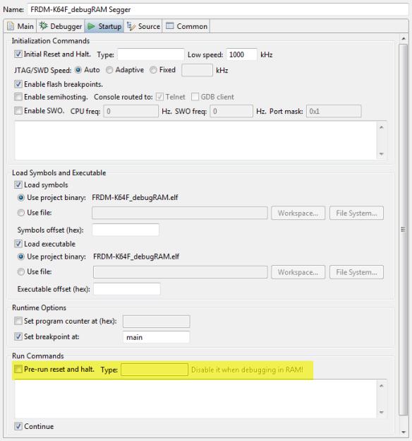 Segger Debugger Launch Configuration to Debug in RAM