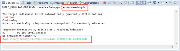 GDB Dump Command in GDB Console