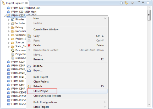 Closing Project in Eclipse Workspace