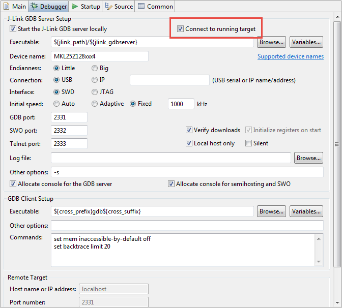 Attaching to a Running Target with Segger J-Link, GDB and Eclipse