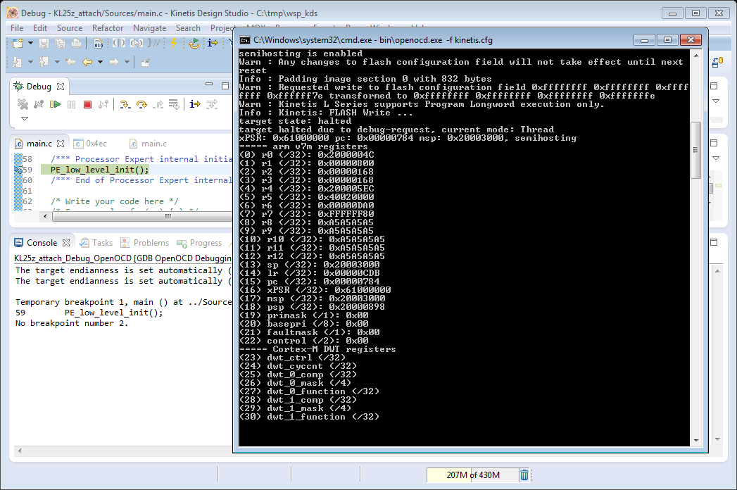 OpenOCD/CMSIS-DAP Debugging with Eclipse and without an IDE