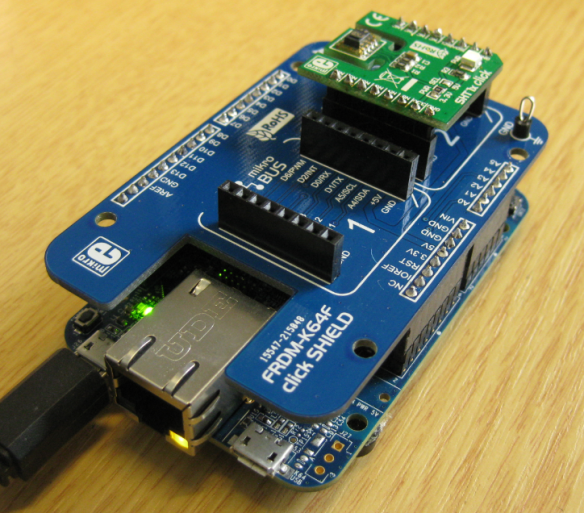 Click Shield with Click Board mounted on FRDM-K64F Board