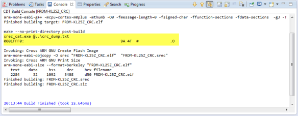 srec_cat as post-build step in the Eclipse Console View