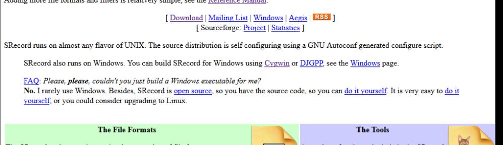 SRecord 1.64 Web Page